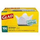 glad tall kitchen quick-tie trash bags 13 gal 106 ct