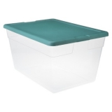 sterilite 56 quart clear bin w-white or green lid