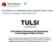 'Blatant effort to intimidate': Tulsi Gabbard defends suing Hillary Clinton over 'Russian asset' claim