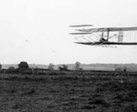 Orville Wright pilots the first flight longer than 30 minutes.