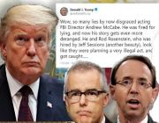 Trump accuses Rosenstein, McCabe of pursuing 'illegal and treasonous' plot against presidency
