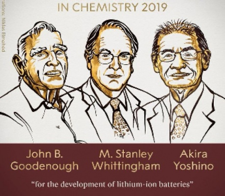 Nobel Prize in Chemistry awarded to 3 scientists who developed lithium-ion batteries