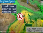 Severe Thunderstorm and Heavy Rain Threats to Hit the South Through Tuesday